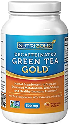 #1 Green Tea Extract - Green Tea GOLD, 500 mg, 90 Vegetarian Capsules - Decaffeinated Green Tea Fat Burner Supplement for Weight-loss (98% Polyphenols, 50% EGCG)