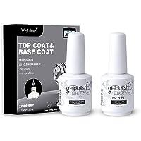 Vishine Soak Off Base Coat + No Wipe Top Coat Set Quick Dry Long Lasting Shine High Gloss Mirror Effect Nail Art 15ML…