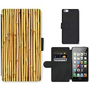 PU Cuir Flip Etui Portefeuille Coque Case Cover véritable Leather Housse Couvrir Couverture Fermeture Magnetique Silicone Support Carte Slots Protection Shell // V00002775 textura de bambú // Apple iPhone 5 5S 5G SE