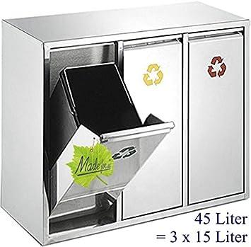 Made For Us 45 L Edelstahl Wand Abfalleimer 3x15 L Mulleimer 3 Fach