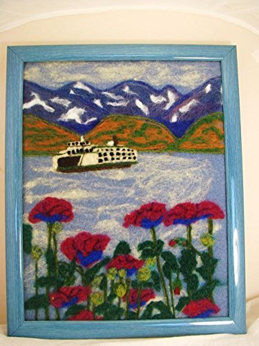 Needle Felted Painting, Flower Painting, Felted Art, Wool Painting