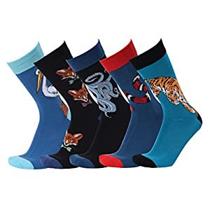 Men's Socks Cool Animal Patterned Cotton Akinowel Crew Dress Socks 5pcs