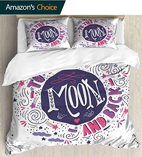 - shirlyhome I Love You Print Comforter Quilt Set,Sweet Colorful Love with Fun Forms Comet Storm Clouds Valentines Theme Bedding Sets 68
