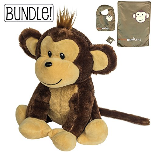 Stuffed Plush Monkey | Includes Free Bib Set (Baby bib, Changing pad and Pacifier Holder)! Great Gift for Any Registry Or Baby Shower! New and Expecting Mom's Will Love This! by earthMonkeys