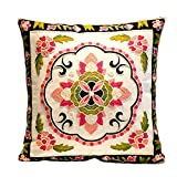 MeMoreCool Bohemia Exotic Style Pillow Sham Exquisite Stereoscopic Embroidered Cotton Throw Pillow Cover Indian Decor Sofa Cushion Cover Pillow Case 18''x18''