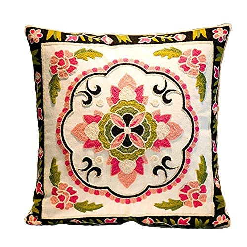 Embroidered Vintage Pillowcase - MeMoreCool Bohemia Exotic Style Pillow Sham Exquisite Stereoscopic Embroidered Cotton Throw Pillow Cover Indian Decor Sofa Cushion Cover Pillow Case 18
