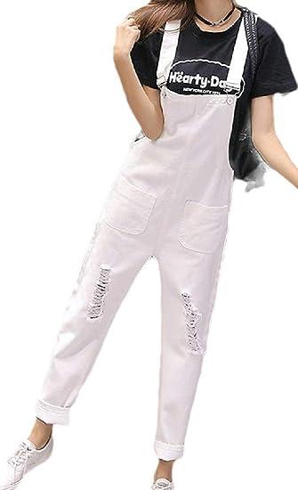 maweisong レディース カジュアル ファッション ルーズ デニム リッピング ポケット ビッド パンツ