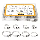TOOGOO 80 Pieces Adjustable 5/16-1-23/32 inch Range Worm Gear Hose Clamps Assortment Kit, 8 Size,One Dual-purpose Screwdriver Included