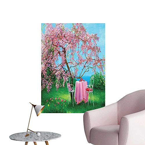Jaydevn Rustic Wall Mural Wallpaper Stickers Tea Time Theme Vintage Chairs Plum Tree Spring Garden Painting Art Mural Decals Pale Blue Green and Pale Pink W24 x H36