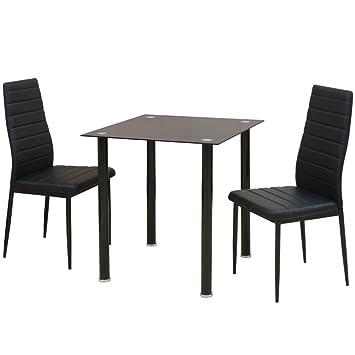 Sedie Imbottite Per Sala Da Pranzo.Hobbyesport Set Composto Da 1 Tavolo E 2 Sedie Imbottite Colore Nero
