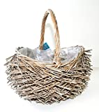 Vintage gift planter basket with handle and plastic liner for herbs, plants, fairy gardens, flowers or special occasions.