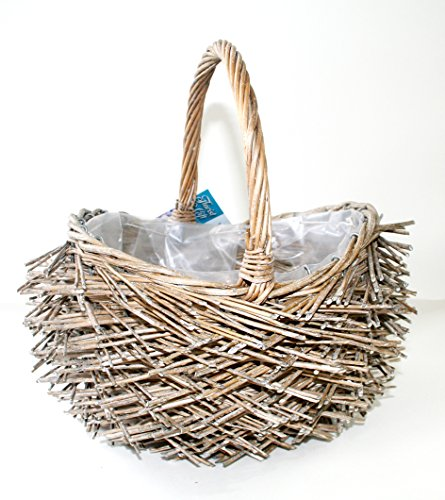 Vintage gift planter basket with handle and plastic liner...