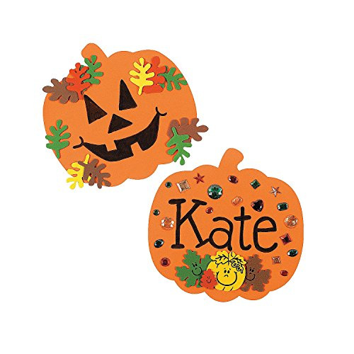 Fun Express 8 Inch Foam Halloween Pumpkins - Craft Shapes - 24 Pack -