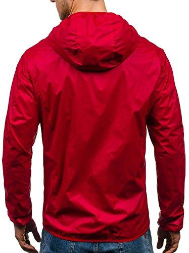 Rojo 4D4 BOLF Bolsillos Hombre Capucha Chaqueta con Motivo Multipurpose xn8FwH0Sq