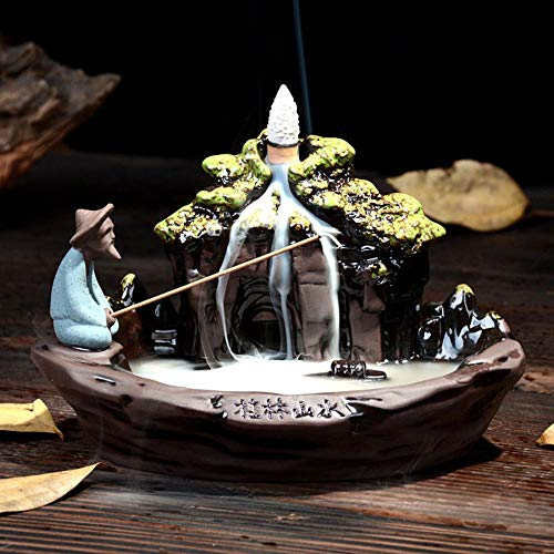 Mountain Backflow Incense Burner Handmade Ceramic Fisherman Incense Holders with 10 Incense ()
