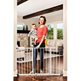 Regalo Easy Open 50 Inch Wide Baby Gate, Pressure Mount, Great for Kids and Pets (White Baby Gate with 2 Extension Kits)