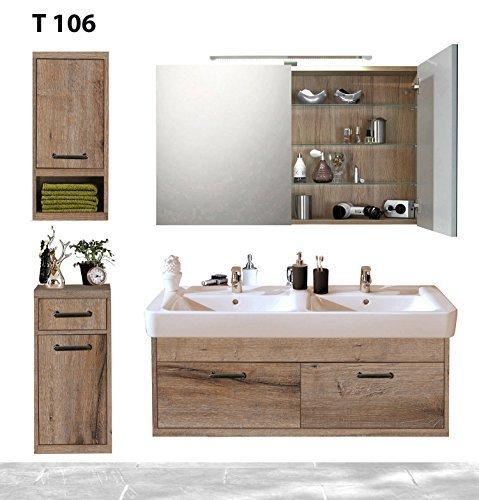 Badserie Timbery T106 in SCE, Waschtisch, Spiegel-, Ober- u. Unterschrank