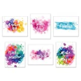 Inspirational Wall Art-Inkblot: Set of 6-Phrases of Wisdom Unframed Poster Art (8''x10'')