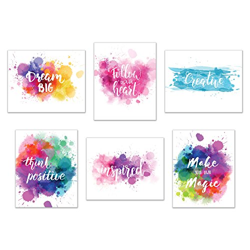 Inspirational Wall Art-Inkblot: Set of 6-Phrases of Wisdom Unframed Poster Art (8