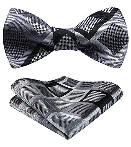 HISDERN Men's Plaid Self Bow Tie And Pocket Square Set ()