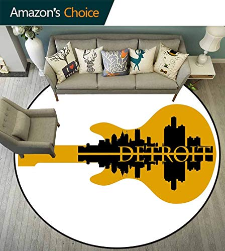 Detroit Decor Round Rug Skid pad,High Rise Buildings Silhouette Reflection Electric Guitar Instrument Music Environmental Protection Fabric,Yellow Black,D-67
