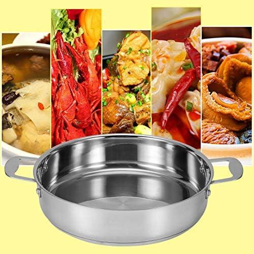 Casserole braisée ragoût en acier inoxydable non recouverte Casserole à ragoût à braiser antiadhésive avec double poignée pour cuiseur à induction ragoût inférieure