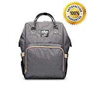 Diaper Bag Backpack, FLYMEI Multi-Function Waterproof Travel Backpack Nappy Bags, Nursing Bag Mummy Maternity Nappy Changing Bag for Baby Care, Large Capacity, Stylish and Durable (Grey)