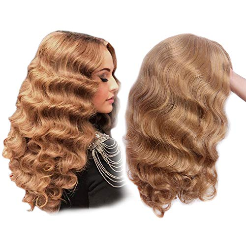 STfantasy Long Wave Wigs Blonde Curly Shoulder Length Synthetic Hair for Women Cosplay Costume