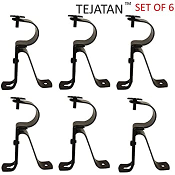 Curtain Rod Brackets   Black (Set Of 6)  Adjustable (Also Known As
