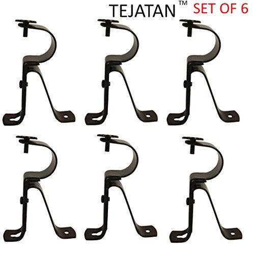 Curtain Rod Brackets - Black (Set of 6) - Curtain Rod Bracket Set