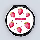 pinjewelr Women's Accessories Mini Round Portable Strawberry Pattern Glass Mirrors Circles for Crafts Decoration Cosmetic Accessory