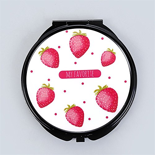 pinjewelr Women's Accessories Mini Round Portable Strawberry Pattern Glass Mirrors Circles for Crafts Decoration Cosmetic Accessory by Pinjewelry
