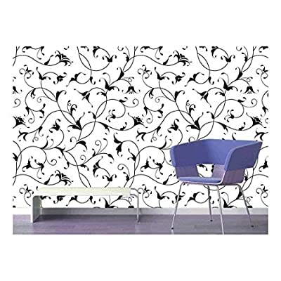 Grand Handicraft, That's 100% USA Made, Large Wall Mural Seamless Floral Pattern Vinyl Wallpaper Removable Decorating