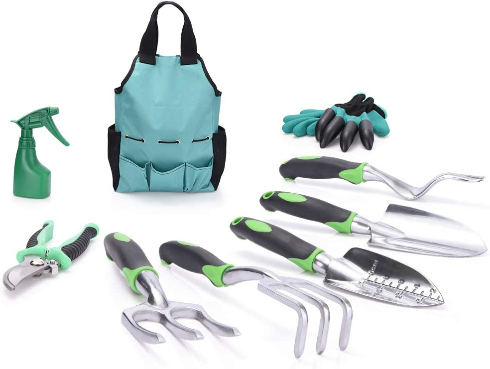 WOLFWILL 9 Piece Garden Tools Set - Gardening Tools with Storage Organizer, Weeder, Cultivator, Rake, Trowel, Sprayer, Pruner, Gloves - Heavy Duty Gardening Kit Gift for Women & Men