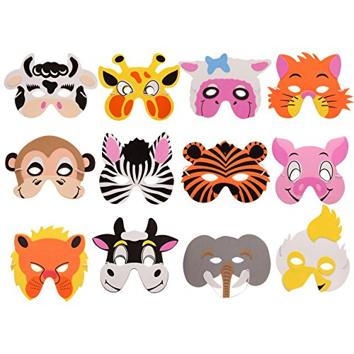 NARA ONE Animal Masks for Kids,Jungle Masks Goodie Bags Dress up Masks for Safari Party Supplies Birthday Party Favors Circus Kids Foam Mask Assorted (12 pcs)]()