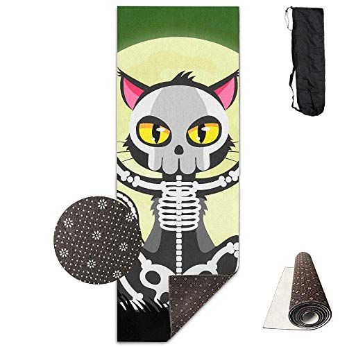 Workout Mat for Yoga, Non-Slip Fashion-Forward Halloween Skull Printed Yoga Mat Aerobic Exercise Mat Pilates Mat Baby Crawling Mat with Carrying Bag Great for Man/Women/Baby Eco Friendly Workout Mat