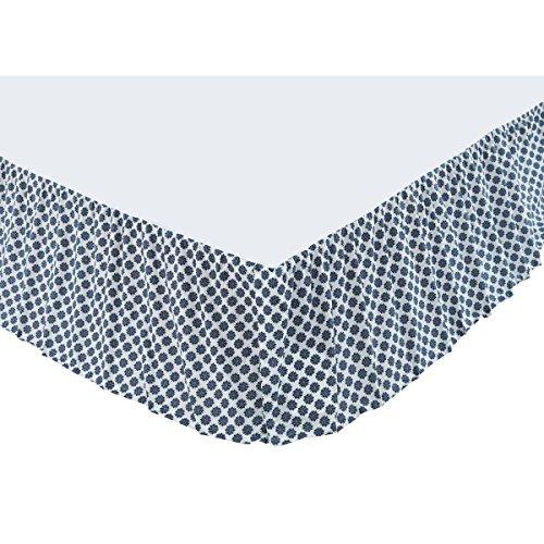 Indigo Print Skirt - VHC Brands Boho & Eclectic Bedding - Mariposa White Bed Skirt, Queen