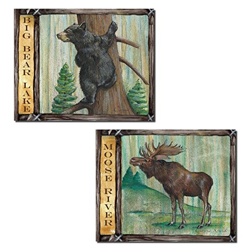 Rustic Moose River and Big Bear Lake; Cabin Lodge Decor; Two 14x11in Unframed Poster Prints