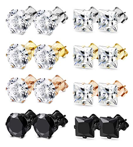 FIBO STEEL 8 Pairs Stainless Steel Stud Earrings for Men Women Ear Piercing Earrings Round Square Cubic Zirconia Inlaid 4mm
