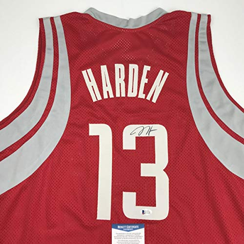 James Autographed Red Custom Jersey - Autographed/Signed James Harden Houston Red Basketball Jersey Beckett BAS COA