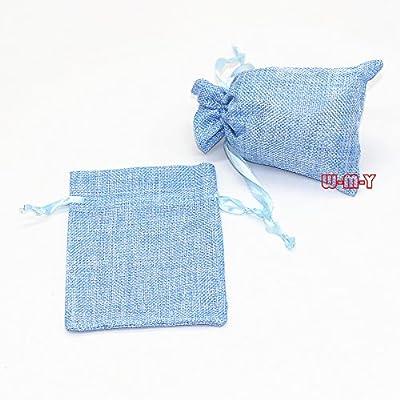 "M-W 25PCS 4"" x 6"" Burlap Gift Bag with Satin Drawstring"
