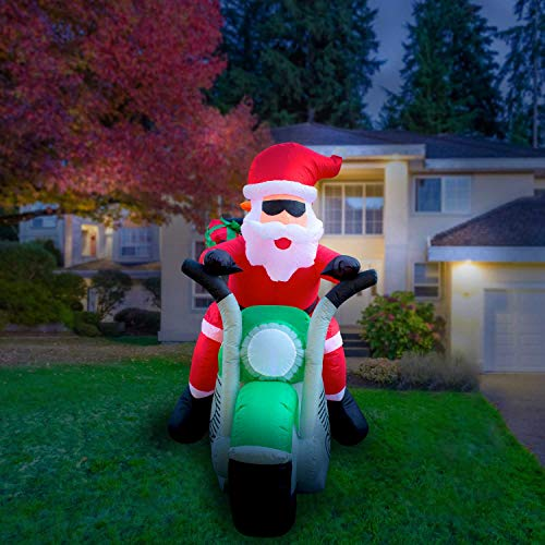 Holidayana 7ft Inflatable Santa on Motorcycle Christmas Decoration | with Built-in Bulb, Tie-Down Points, and Powerful Built in - On Santa Motorcycle