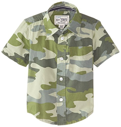 The Children's Place Baby Boys' Short Sleeve Camo Shirt, Ace Olive, 18 24 Months