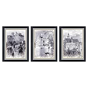 """Ardemy Canvas Wall Art Black and White European Building Castle Painting, Modern 12""""x16"""" 3 Panels Charcoal Artwork With Acrylic Frame Prints Ready to Hang for Living Room Bedroom Office Home Decor"""