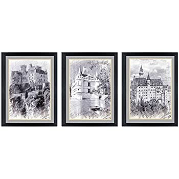 Ardemy canvas wall art black and white european building castle painting modern 12x16