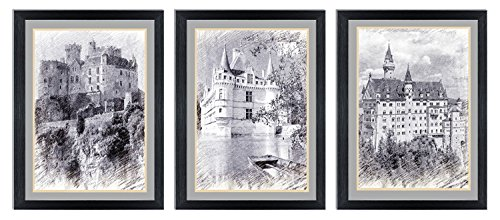 Ardemy Canvas Wall Art Black and White European Building Castle Painting, Modern 12