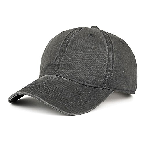 CANCA Vintage Washed Dyed Cotton Twill Low Profile Adjustable Baseball Cap (Dark Grey) (Cotton Twill Washed Hat)