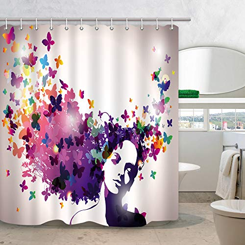 NYMB Fantasy Girl Shower Curtain Butterfly Decor, Womans Hair with Rainbow Butterflies 3D Art Print Fabric Curtains for Bathroom, Mildew Resistant 69X70 in Bath Drapes Accessories with Hooks