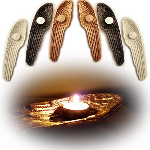 Candle Wing Angel (Large Guardian Angel Wing Votive Tealight Candle Holder Ornament (Gold))