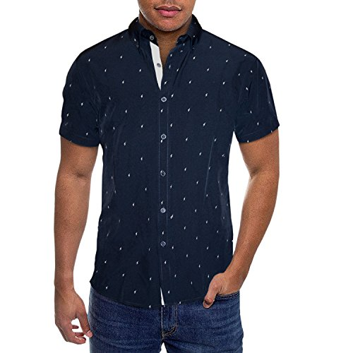 ETHANOL Mens Slim Fit Short Sleeve Button Down Polo Oxford Shirt MST46568 LTS Navy S (Seamless Sleeve Top Short Navy)